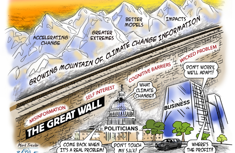 cartoon great wall of climate change information deluge