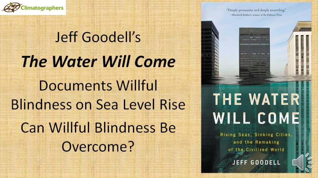 cover of Goodell book and blog title is there willful blindness on sea level rise