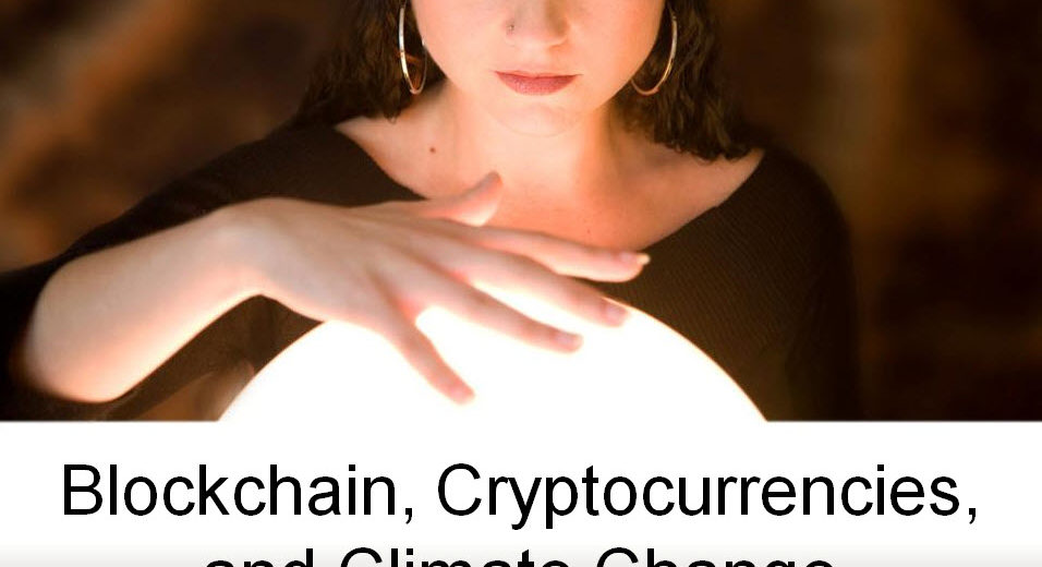 woman looking into crystal ball - blockchain and climate change