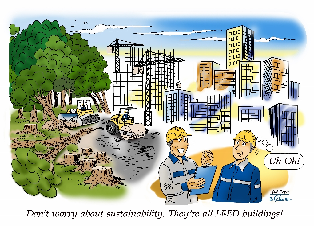 LEED and sustainability - cartoon