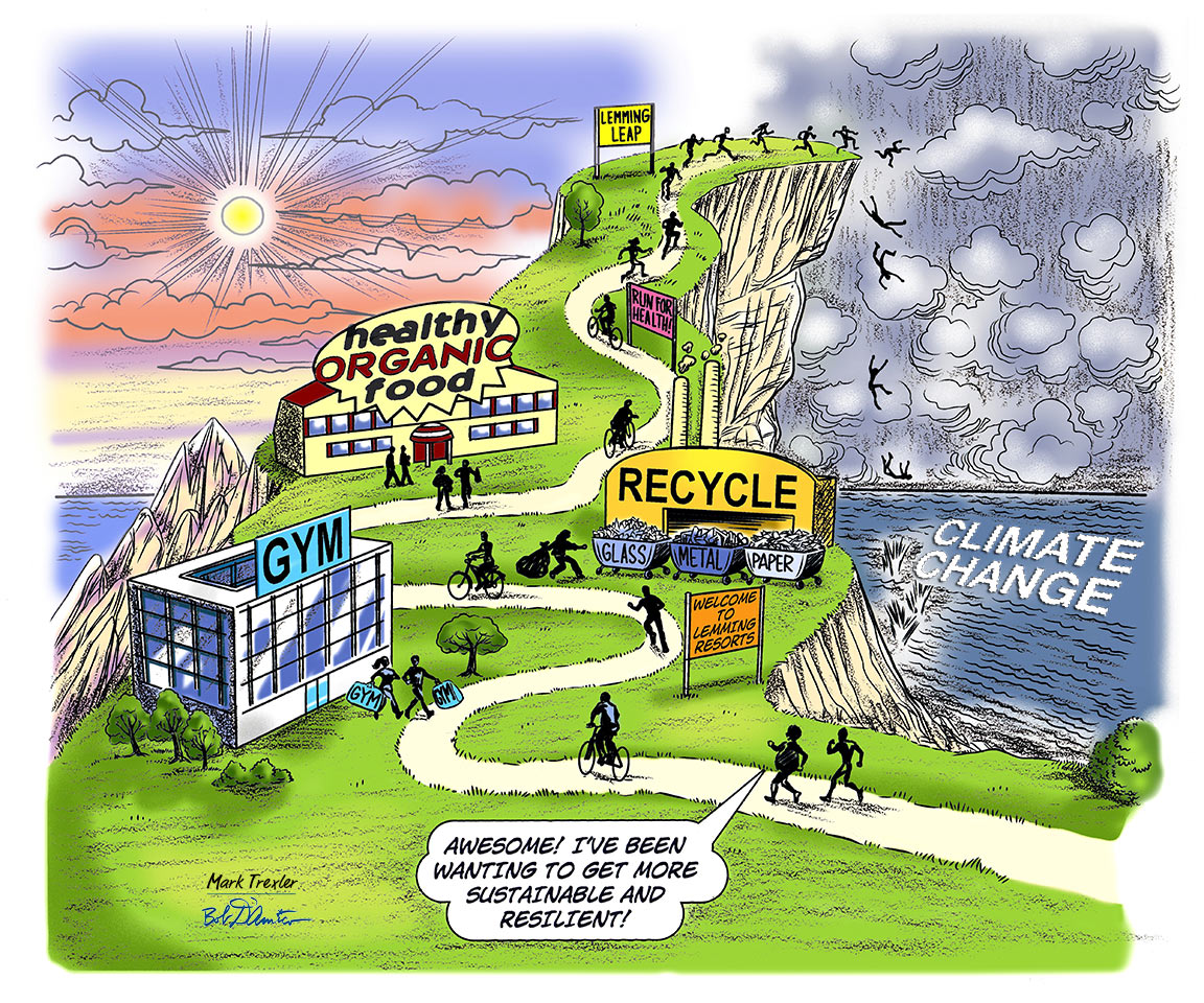 cartoon climbing mountain of sustainability jumping off cliff