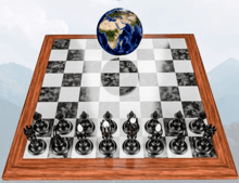 chess board with globe on top