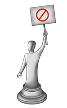 stylized chess piece protester holding up sign