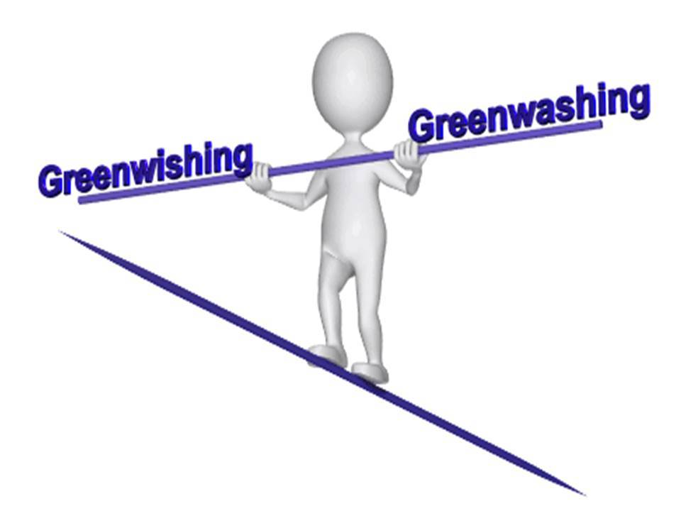 stylized man on seesaw balancing greenwishing and greenwashing