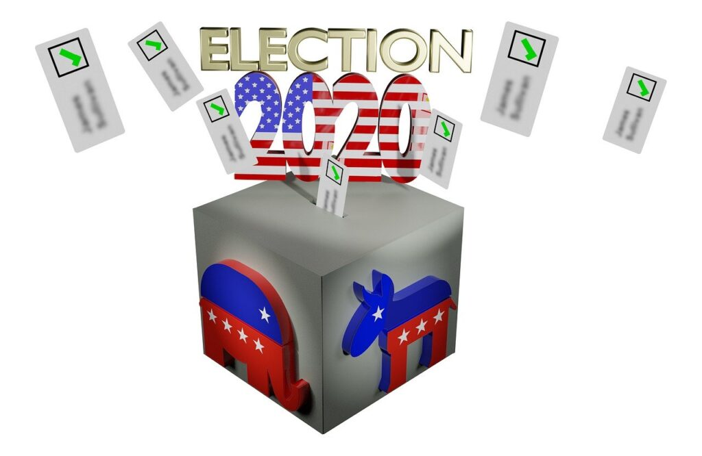 election 2020 ballot box with image of donkey and elephant in red and blue