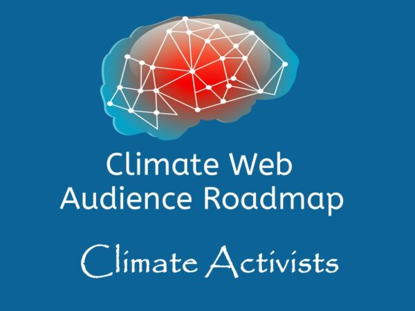 brain on blue background words climate web audience roadmap climate activists
