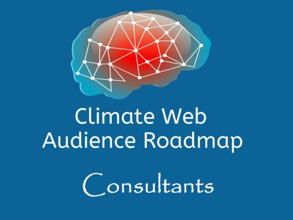 brain on blue background words climate web audience roadmap consultants