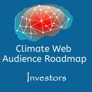 brain on blue background words climate web audience roadmap investors