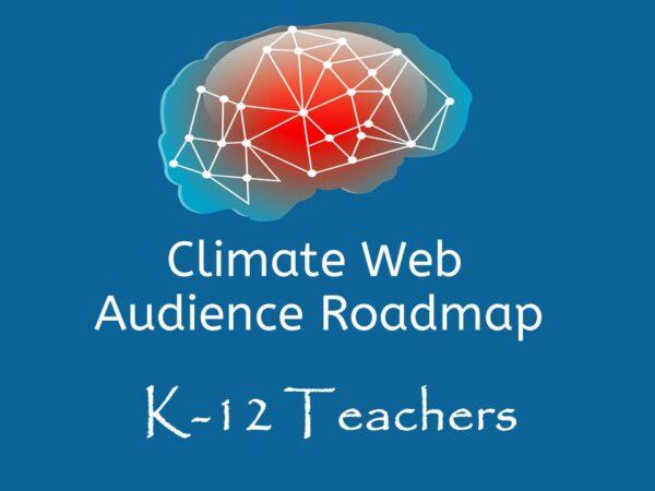 brain on blue background words climate web audience roadmap teachers k12