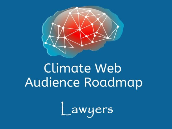 brain on blue background words climate web audience roadmap lawyers