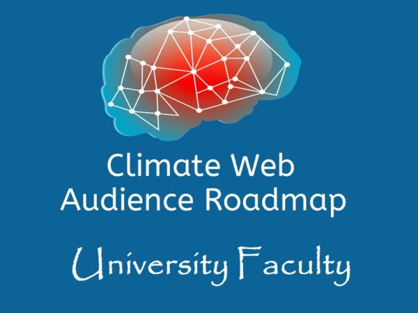 brain on blue background words climate web audience roadmap university faculty
