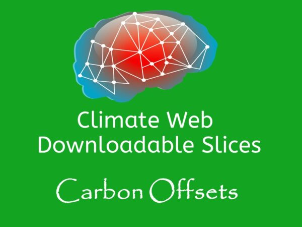 brain on green background words climate web downloadable slice carbon offsets