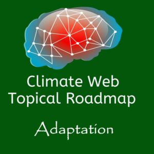 brain on green background words climate web topical roadmap adaptation