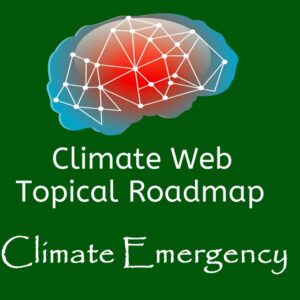 brain on green background words climate web topical roadmap climate emergency