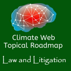 brain on green background words climate web topical roadmap law and litigation