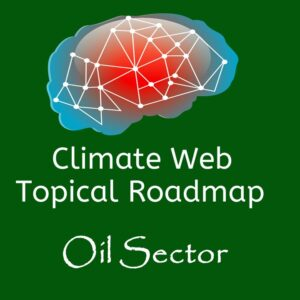 brain on green background words climate web topical roadmap oil sector