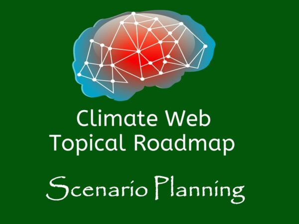 brain on green background words climate web topical roadmap scenario planning