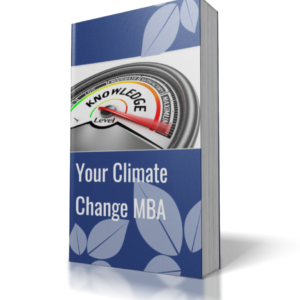 book cover blue background words your climate change MBA