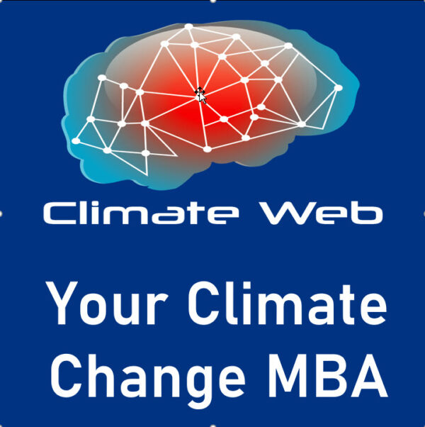 blue background words climate web your climate change MBA