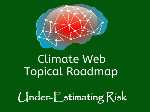 words underestimating risk on green background with red and blue brain image