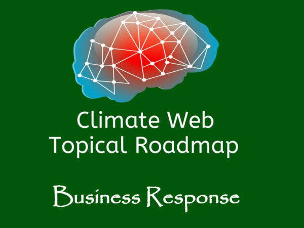 words business response on green background with red and blue brain image