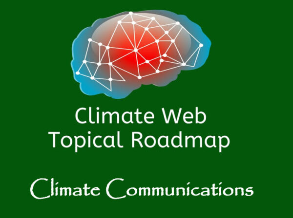 words climate communications on green background with red and blue brain image