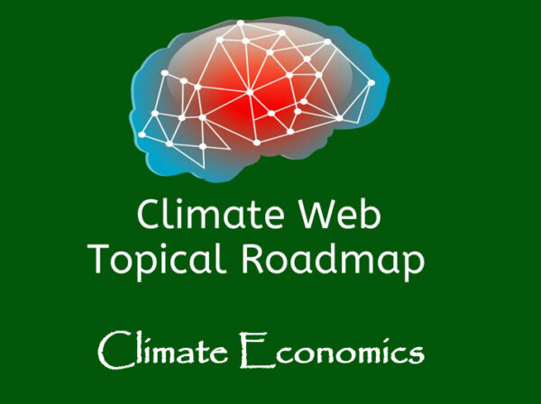 words climate economics on green background with red and blue brain image