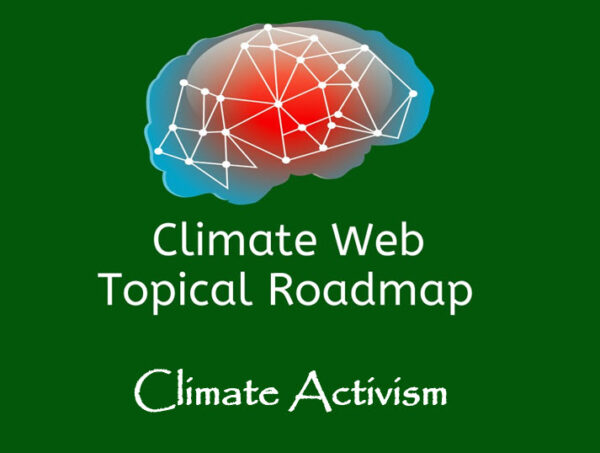 words climate activism on green background with red and blue brain image