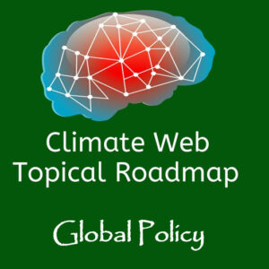 words global policy on green background with red and blue brain image