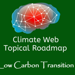 words low carbon transition on green background with red and blue brain image