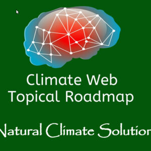 words natural climate solutions on green background with red and blue brain image