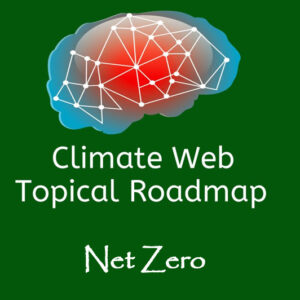 words net zero on green background with red and blue brain image