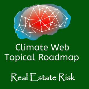 words real estate risk on green background with red and blue brain image